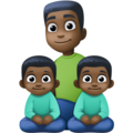 Family - Man: Dark Skin Tone, Boy: Dark Skin Tone, Boy: Dark Skin Tone on Facebook 4.0