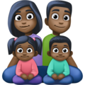 Family - Man: Dark Skin Tone, Woman: Dark Skin Tone, Girl: Dark Skin Tone, Boy: Dark Skin Tone on Facebook 4.0