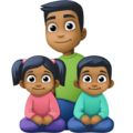 Family - Man: Medium-Dark Skin Tone, Girl: Medium-Dark Skin Tone, Boy: Medium-Dark Skin Tone on Facebook 4.0