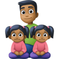 Family - Man: Medium-Dark Skin Tone, Girl: Medium-Dark Skin Tone, Girl: Medium-Dark Skin Tone on Facebook 4.0