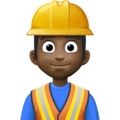 Man Construction Worker: Dark Skin Tone on Facebook 4.0