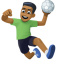 Man Playing Handball: Medium-Dark Skin Tone on Facebook 4.0