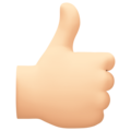 Thumbs Up: Light Skin Tone on Facebook 4.0