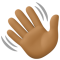 Waving Hand: Medium-Dark Skin Tone on Facebook 4.0