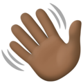 Waving Hand: Dark Skin Tone on Facebook 4.0