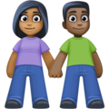 Woman and Man Holding Hands: Medium-Dark Skin Tone, Dark Skin Tone on Facebook 4.0