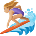 Woman Surfing: Medium-Light Skin Tone on Facebook 4.0