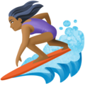 Woman Surfing: Medium-Dark Skin Tone on Facebook 4.0