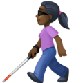 Woman with Probing Cane: Dark Skin Tone on Facebook 4.0