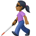 Woman with White Cane: Medium-Dark Skin Tone on Facebook 4.0
