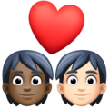 Couple with Heart: Person, Person, Dark Skin Tone, Light Skin Tone on Facebook 13.1