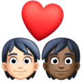 Couple with Heart: Person, Person, Light Skin Tone, Dark Skin Tone on Facebook 13.1