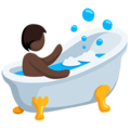 Person Taking Bath: Dark Skin Tone on Messenger 1.0