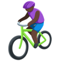 Person Biking: Dark Skin Tone on Messenger 1.0