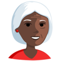Old Woman: Dark Skin Tone on Messenger 1.0