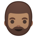 Bearded Person: Medium Skin Tone on Google Android 9.0