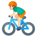 Person Biking: Light Skin Tone on Google Android 9.0