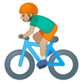 Person Biking: Medium-Light Skin Tone on Google Android 9.0