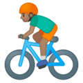 Person Biking: Medium Skin Tone on Google Android 9.0