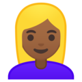Blond-Haired Woman: Medium-Dark Skin Tone on Google Android 9.0