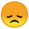 Disappointed Face on Google Android 9.0