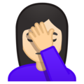 Person Facepalming: Light Skin Tone on Google Android 9.0