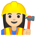 Woman Construction Worker: Light Skin Tone on Google Android 9.0