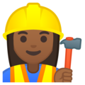 Woman Construction Worker: Medium-Dark Skin Tone on Google Android 9.0