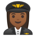Woman Pilot: Medium-Dark Skin Tone on Google Android 9.0
