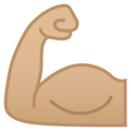 Flexed Biceps: Medium-Light Skin Tone on Google Android 9.0
