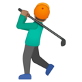 Person Golfing: Medium Skin Tone on Google Android 9.0