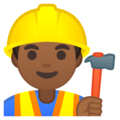Man Construction Worker: Medium-Dark Skin Tone on Google Android 9.0