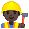 Man Construction Worker: Dark Skin Tone on Google Android 9.0
