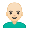 Man: Light Skin Tone, Bald on Google Android 9.0