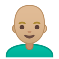 Man: Medium-Light Skin Tone, Bald on Google Android 9.0