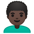 Man: Dark Skin Tone, Curly Hair on Google Android 9.0