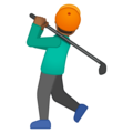 Man Golfing: Medium-Dark Skin Tone on Google Android 9.0