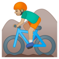 Man Mountain Biking: Medium-Light Skin Tone on Google Android 9.0