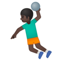 Man Playing Handball: Dark Skin Tone on Google Android 9.0
