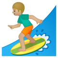 Man Surfing: Medium-Light Skin Tone on Google Android 9.0