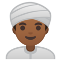 Man Wearing Turban: Medium-Dark Skin Tone on Google Android 9.0