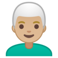 Man: Medium-Light Skin Tone, White Hair on Google Android 9.0