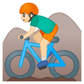 Person Mountain Biking: Light Skin Tone on Google Android 9.0
