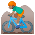 Person Mountain Biking: Medium Skin Tone on Google Android 9.0