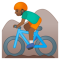 Person Mountain Biking: Medium-Dark Skin Tone on Google Android 9.0