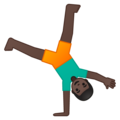 Person Cartwheeling: Dark Skin Tone on Google Android 9.0