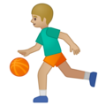 Person Bouncing Ball: Medium-Light Skin Tone on Google Android 9.0