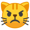 Pouting Cat Face on Google Android 9.0