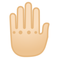 Raised Back of Hand: Light Skin Tone on Google Android 9.0