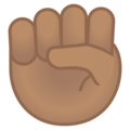 Raised Fist: Medium Skin Tone on Google Android 9.0